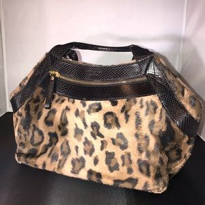 Kate Spade faux fur leopard print purse